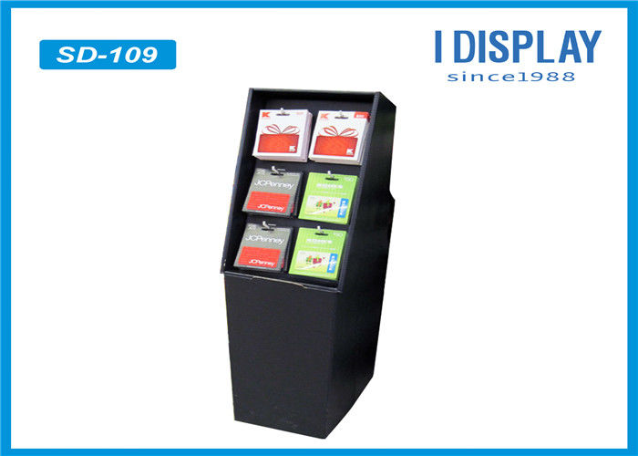 Waterproof Black Floor Cardboard Hook Display Rack With Glossy Lamination