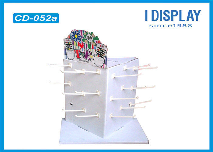 White Cardboard Hook Counter Display  Spot Color Printing For Toys Retail