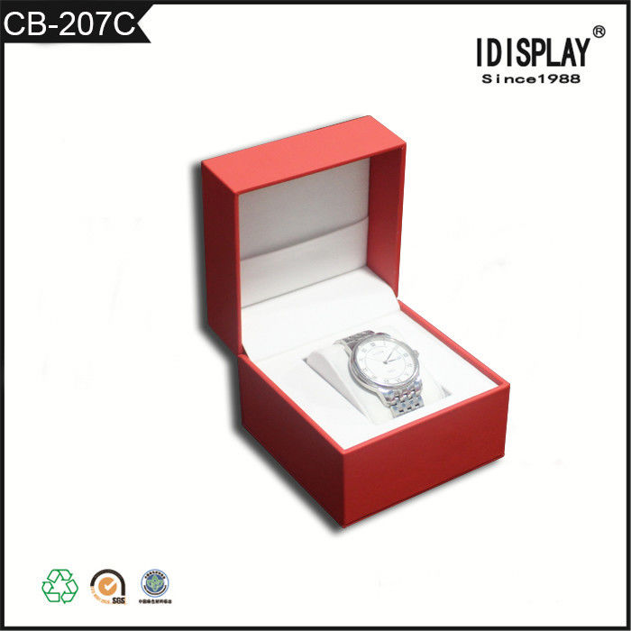 Red Luxury Handmade Cardboard Gift Boxes / Women Watch Presentation Box  Classical Design